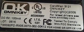 Labels on Omnikey Cardman 3121 v2 or v2
